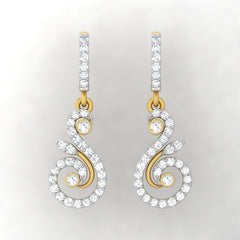 diamond studded gold jewellery - Hiba Bali Earrings - Pristine Fire - 2