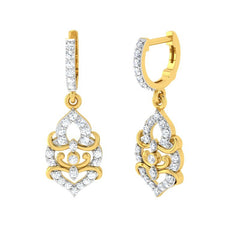 diamond studded gold jewellery - Hydi Bali Earrings - Pristine Fire - 1