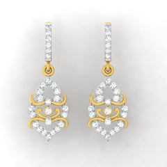 diamond studded gold jewellery - Hydi Bali Earrings - Pristine Fire - 2