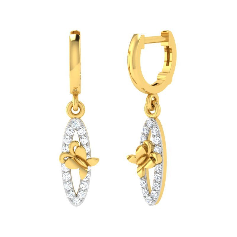 diamond studded gold jewellery - Inga Bali Earrings - Pristine Fire - 1