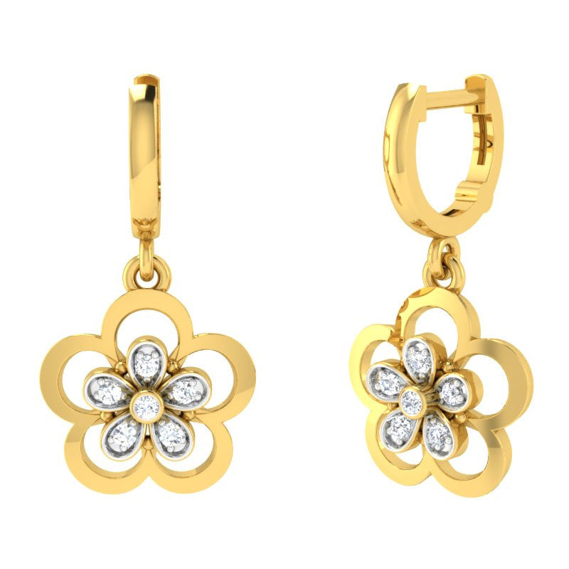 diamond studded gold jewellery - Iola Bali Earrings - Pristine Fire - 1