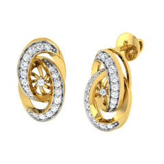 diamond studded gold jewellery - Abequa Stud Earrings - Pristine Fire - 1
