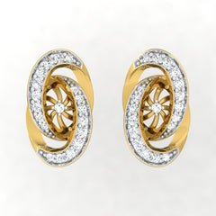 diamond studded gold jewellery - Abequa Stud Earrings - Pristine Fire - 2