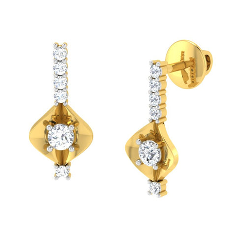 diamond studded gold jewellery - Abida Stud Earrings - Pristine Fire - 1