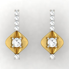 diamond studded gold jewellery - Abida Stud Earrings - Pristine Fire - 2