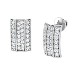 diamond studded gold jewellery - Acacia Stud Earrings - Pristine Fire - 1