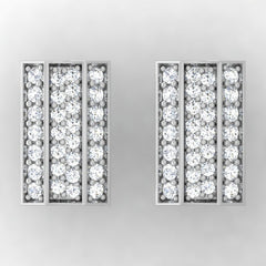 diamond studded gold jewellery - Acacia Stud Earrings - Pristine Fire - 2