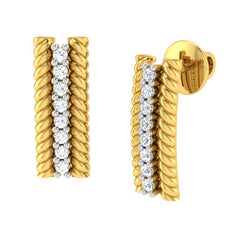 diamond studded gold jewellery - Adabella Stud Earrings - Pristine Fire - 1