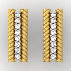diamond studded gold jewellery - Adabella Stud Earrings - Pristine Fire - 2