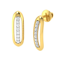 diamond studded gold jewellery - Adama Stud Earrings - Pristine Fire - 1