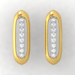 diamond studded gold jewellery - Adama Stud Earrings - Pristine Fire - 2