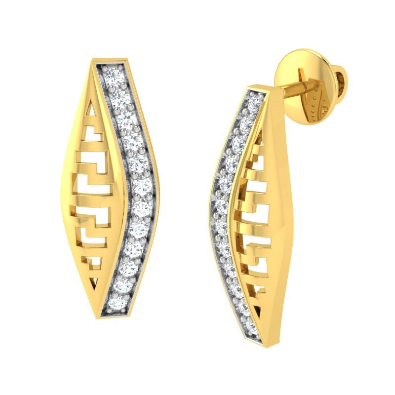 diamond studded gold jewellery - Adara Stud Earrings - Pristine Fire - 1