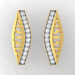 diamond studded gold jewellery - Adara Stud Earrings - Pristine Fire - 2