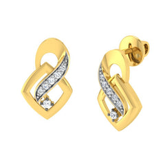 diamond studded gold jewellery - Adawna Stud Earrings - Pristine Fire - 1