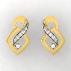 diamond studded gold jewellery - Adawna Stud Earrings - Pristine Fire - 2