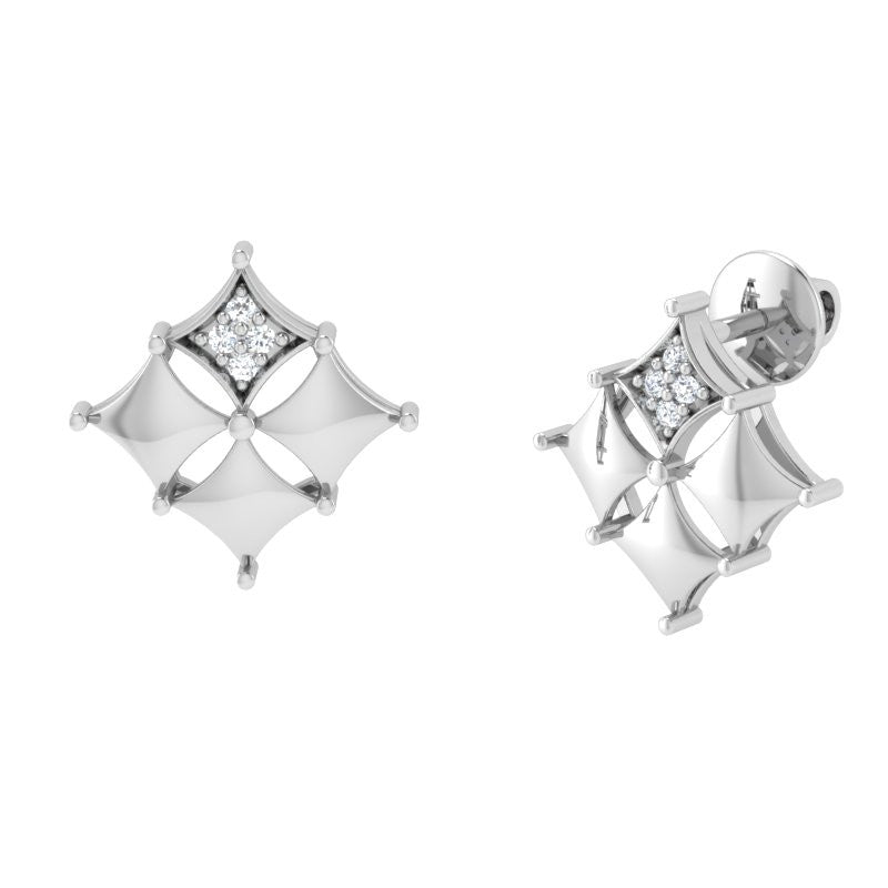 diamond studded gold jewellery - Adela Stud Earrings - Pristine Fire - 1