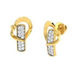 diamond studded gold jewellery - Adelaida Stud Earrings - Pristine Fire - 1