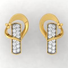 diamond studded gold jewellery - Adelaida Stud Earrings - Pristine Fire - 2