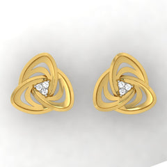 diamond studded gold jewellery - Adelina Stud Earrings - Pristine Fire - 2