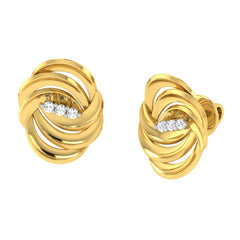 diamond studded gold jewellery - Adena Stud Earrings - Pristine Fire - 1