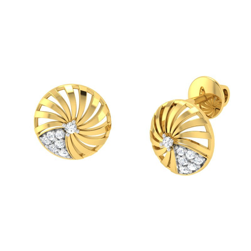 diamond studded gold jewellery - Adoncia Stud Earrings - Pristine Fire - 1