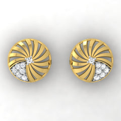 diamond studded gold jewellery - Adoncia Stud Earrings - Pristine Fire - 2