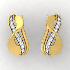 diamond studded gold jewellery - Adra Stud Earrings - Pristine Fire - 2