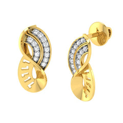 diamond studded gold jewellery - Toriana Stud Earrings - Pristine Fire - 1