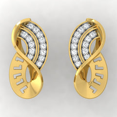 diamond studded gold jewellery - Toriana Stud Earrings - Pristine Fire - 2