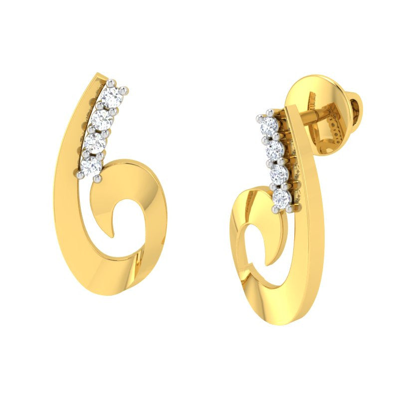 diamond studded gold jewellery - Toscana Stud Earrings - Pristine Fire - 1
