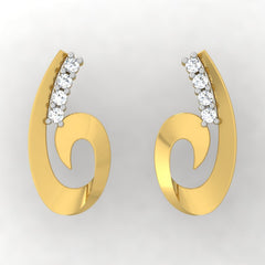 diamond studded gold jewellery - Toscana Stud Earrings - Pristine Fire - 2