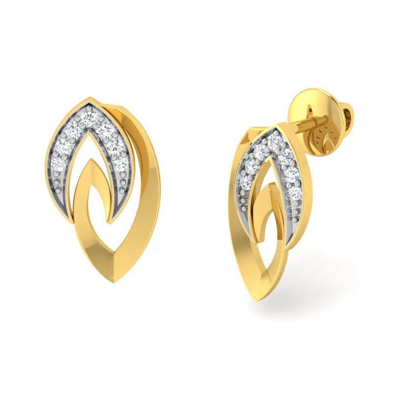 diamond studded gold jewellery - Tracey Stud Earrings - Pristine Fire - 1