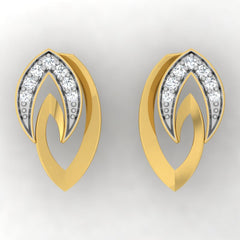 diamond studded gold jewellery - Tracey Stud Earrings - Pristine Fire - 2