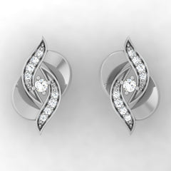 diamond studded gold jewellery - Tranesha Stud Earrings - Pristine Fire - 2