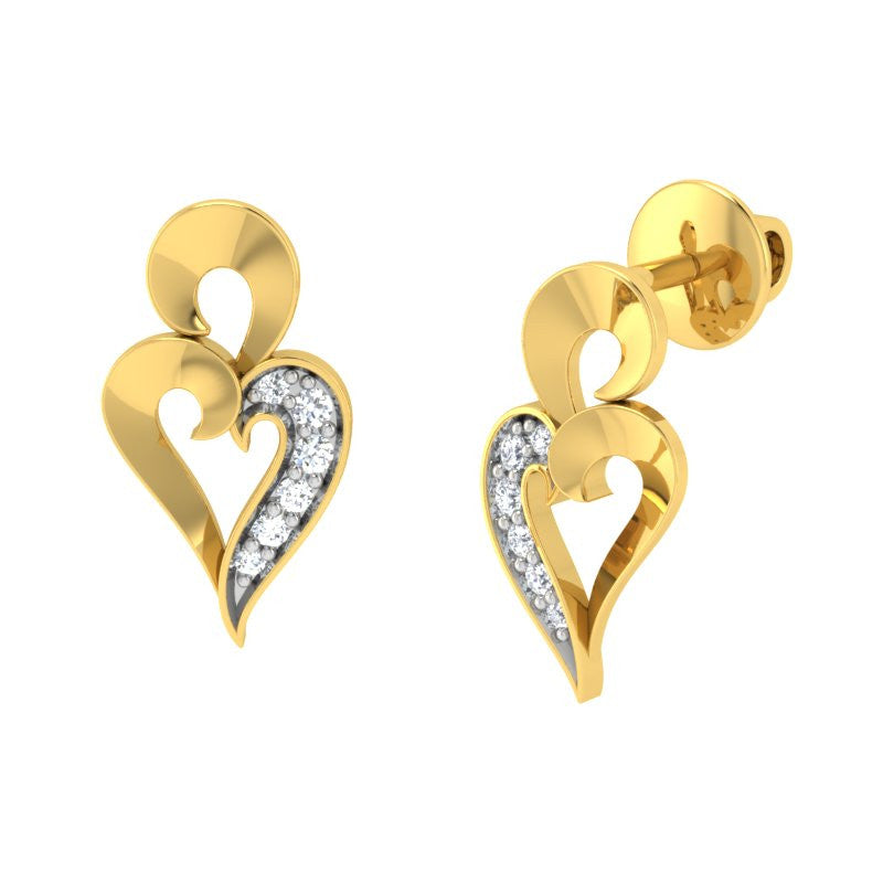 diamond studded gold jewellery - Treasure Stud Earrings - Pristine Fire - 1