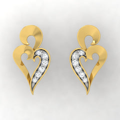 diamond studded gold jewellery - Treasure Stud Earrings - Pristine Fire - 2