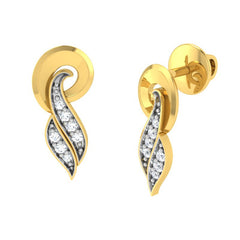 diamond studded gold jewellery - Tresha Stud Earrings - Pristine Fire - 1