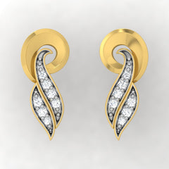 diamond studded gold jewellery - Tresha Stud Earrings - Pristine Fire - 2