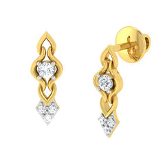 diamond studded gold jewellery - Triana Stud Earrings - Pristine Fire - 1