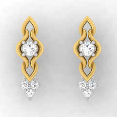diamond studded gold jewellery - Triana Stud Earrings - Pristine Fire - 2