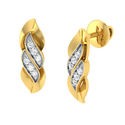 diamond studded gold jewellery - Trixie Stud Earrings - Pristine Fire - 1