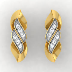 diamond studded gold jewellery - Trixie Stud Earrings - Pristine Fire - 2