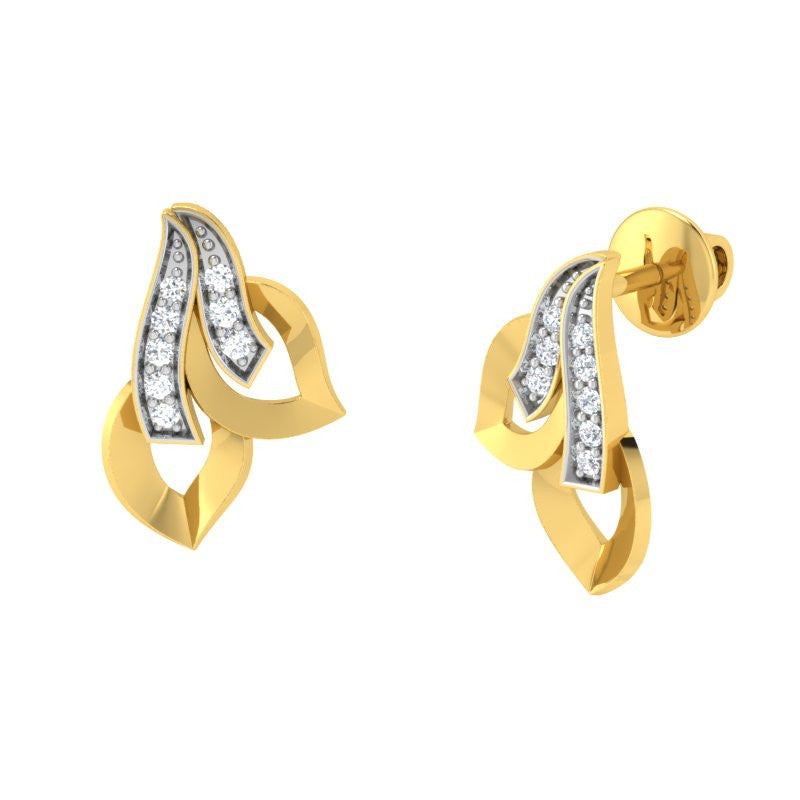 diamond studded gold jewellery - Trudy Stud Earrings - Pristine Fire - 1