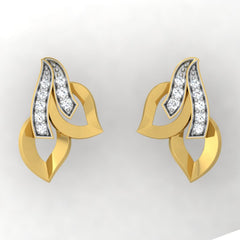 diamond studded gold jewellery - Trudy Stud Earrings - Pristine Fire - 2