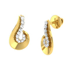 diamond studded gold jewellery - Tula Stud Earrings - Pristine Fire - 1