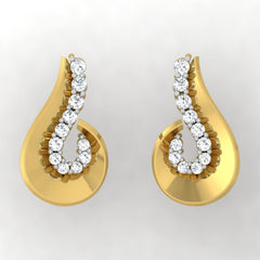 diamond studded gold jewellery - Tula Stud Earrings - Pristine Fire - 2