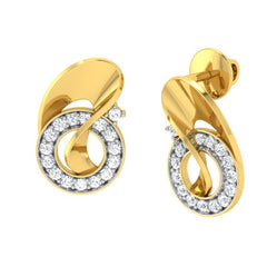 diamond studded gold jewellery - Tulip Stud Earrings - Pristine Fire - 1