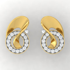 diamond studded gold jewellery - Tulip Stud Earrings - Pristine Fire - 2