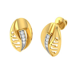 diamond studded gold jewellery - Tyanna Stud Earrings - Pristine Fire - 1
