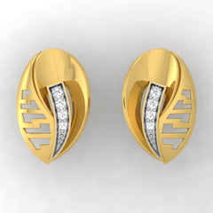 diamond studded gold jewellery - Tyanna Stud Earrings - Pristine Fire - 2
